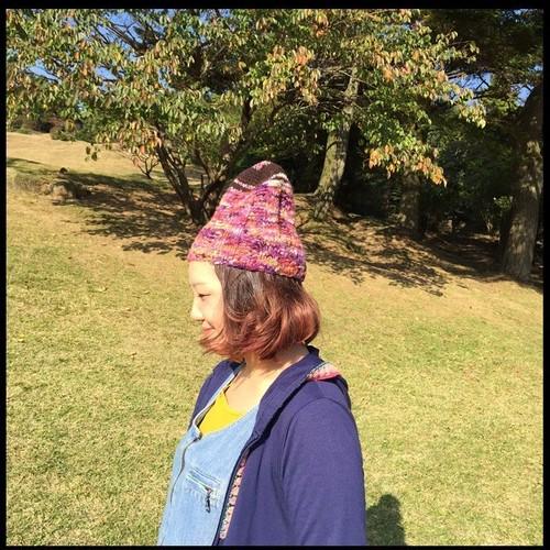 手紡ぎ糸帽子
