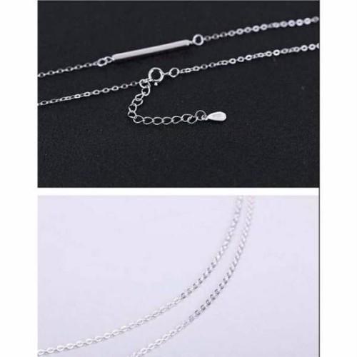 【即納】☆シルバープレートネックレス 銀 長さ調節可能 A050