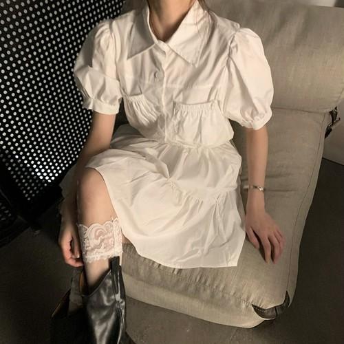 【2点セット】パフスリーブシャツ+スカート ・15116