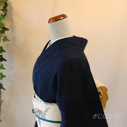 正絹紬 印度藍の夏紬の単衣