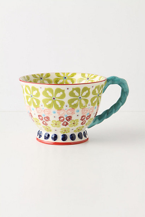 ANTHROPOLOGIE // TWIST TEA CUP -green