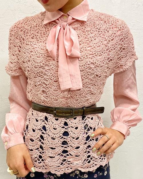 (PAL) crochet l/s knit vest