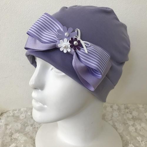 お花とストライプリボンのケア帽子 藤色6