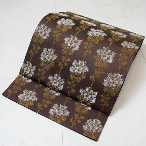 未使用 お仕立て上り 袋帯 金糸 花柄 正絹 茶 紫 214