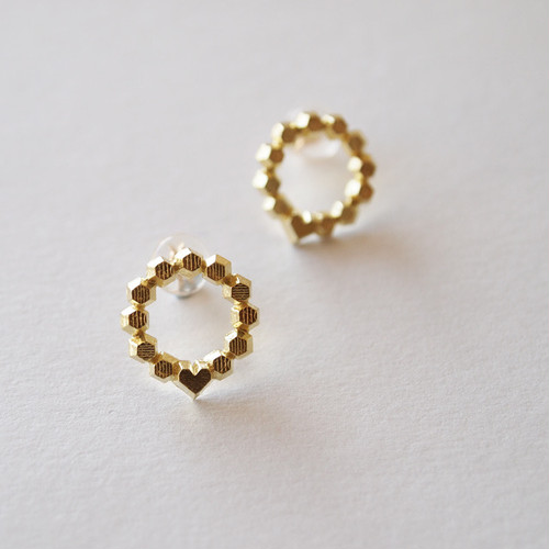 Hex stud earrings - Circle