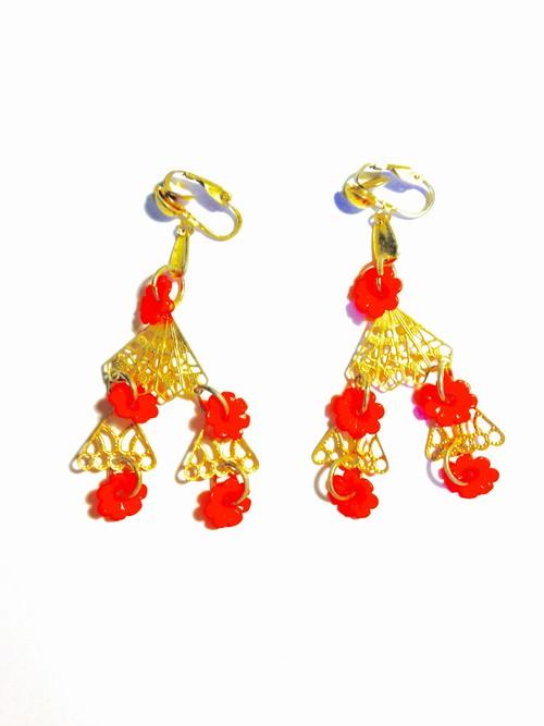 vintage orange flower earring