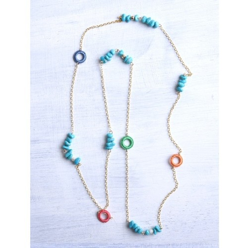 TINY LONG NECKLACE TURQUOISE/ベトナム女性の繊細なてしごと