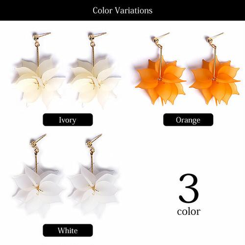 【ピアス】全3色!!フラワー&ラインストーン&ゴールドスティックピアスイヤリング
