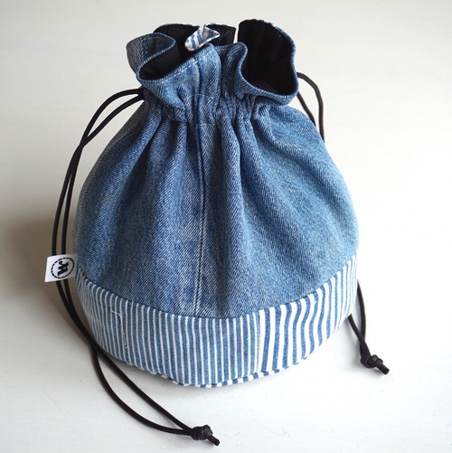 "[Magfacture] ""DRAWSTRING BAG"" Used Denim × Hickory ②"