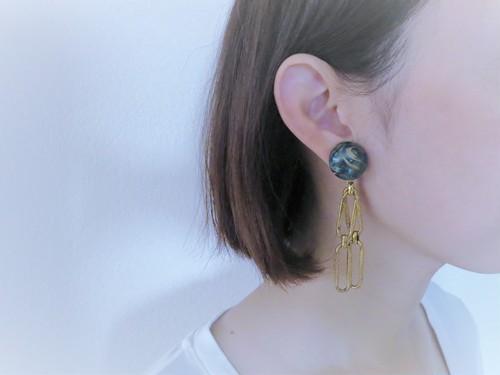 ブルーマーブル&チェーンイヤリング vintage earring cabochon <ER-blcb2>