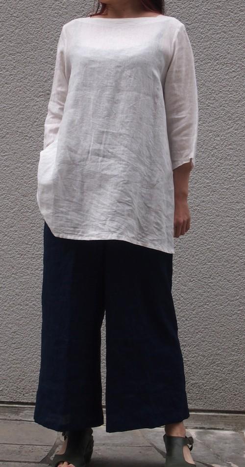 チュニック 白 レディース 麻 リネン カジュアル