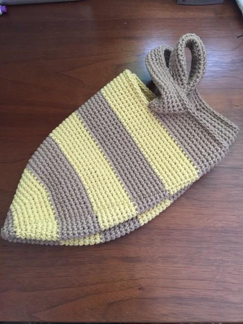 かぎ針編みボーダーバッグ