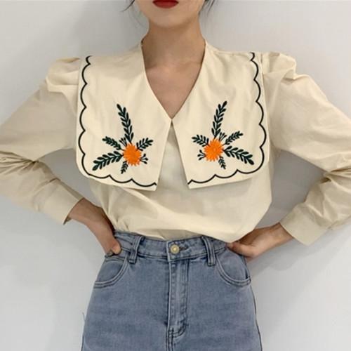 2色 retro 襟刺繍ブラウス c2939