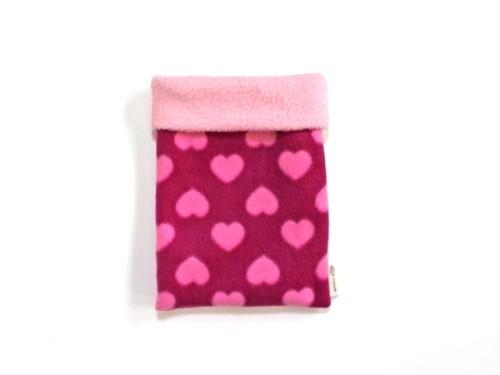 ハリネズミ用寝袋 S(冬用) フリース×フリース ハート ピンク