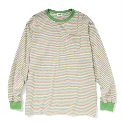 """Just Right """"Wide & Narrow Border Tee"""" Pink x Green"""