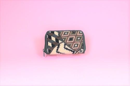 ビーズ刺繍 財布 (#99 マルチ緑)