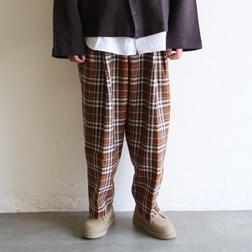 IS-NESS【 mens 】check wool tuck wide pants