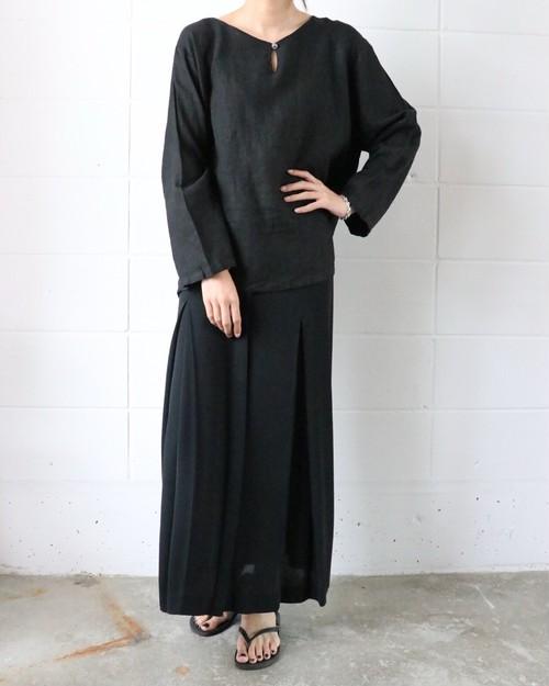 black linen blouse
