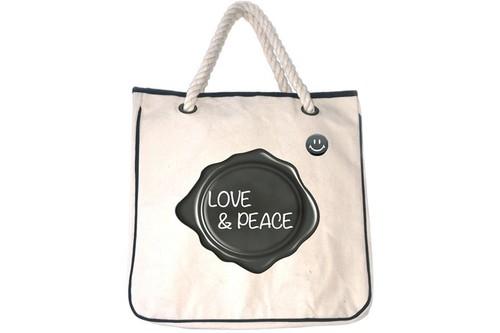 LOVE & PEACE 帆布トートバッグ GRAYライン(缶バッジ付属) ☆数量限定品