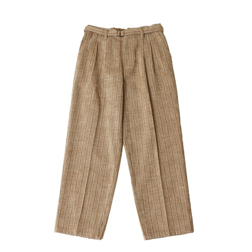 Belt Tuck Wide Pants Check  -beige <LSD-AI3P1>