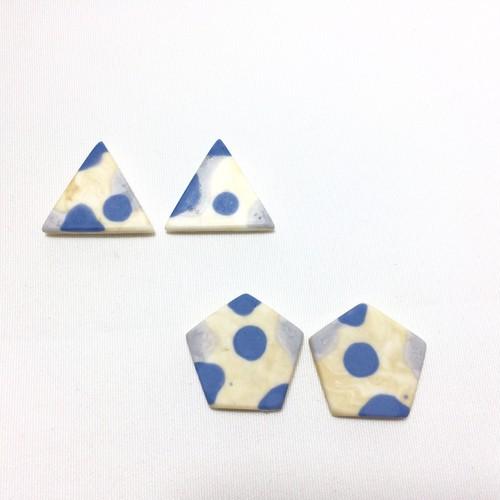 青x灰xベージュのイヤリング(ピアス)