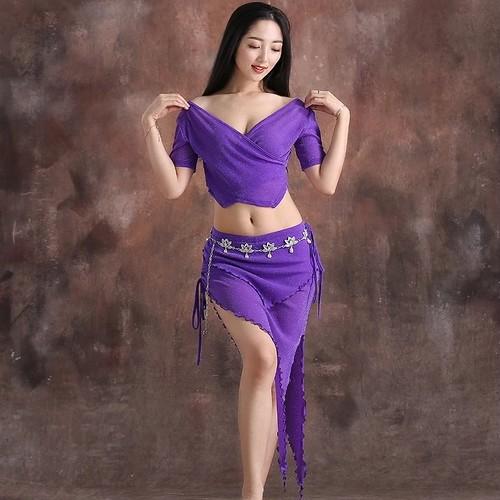 ベリーダンス2 個大人のベリーダンスの練習服新インド舞踊衣装スーツトップとスカート夏のベリーダンス初心者ダンス衣装