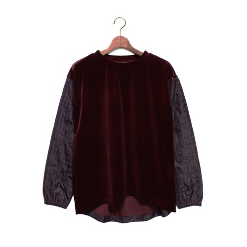 Enharmonic TAVERN Quilting Sleeve C/N Tops - burgundy <LSD-AH3T1>