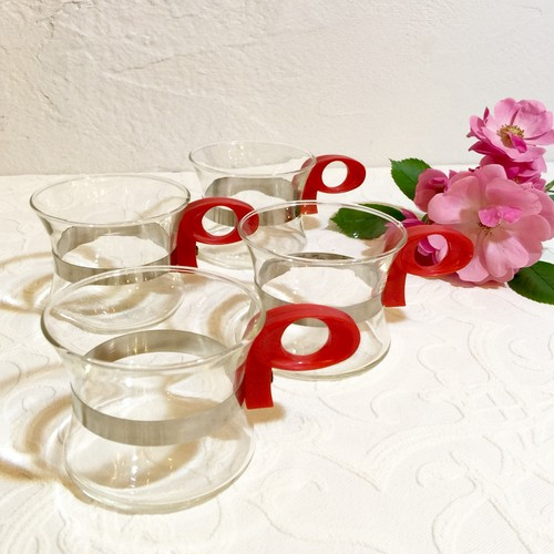 70's Vintage Pop Style Glass Cup with Red Handle [GV-15]