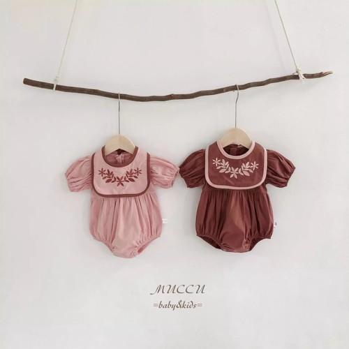 送料無料!【予約販売】可愛いセット♪   刺繍入りスタイ ロンパース セット 66cm〜90cm   女の子 姉妹 双子 赤ちゃん 出産祝い