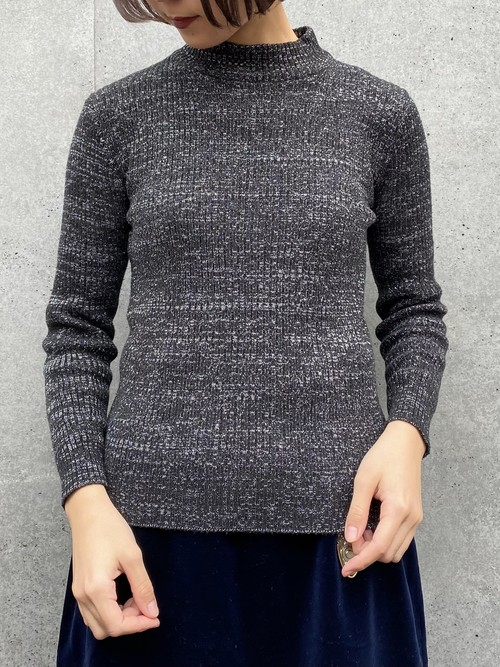 (TOYO) high neck lib knit tops