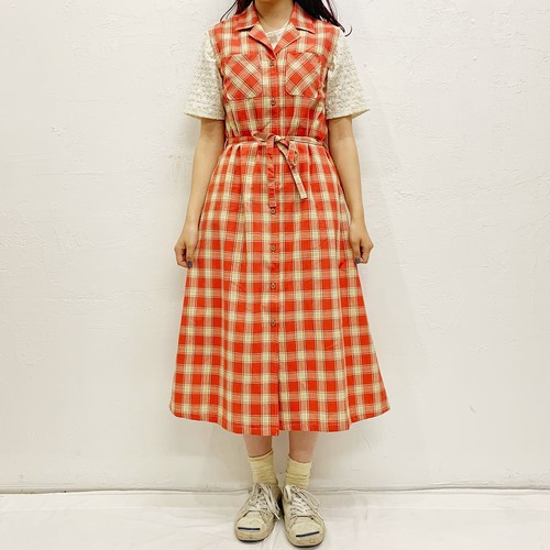 (LOOK) gingham check n/s one-piece