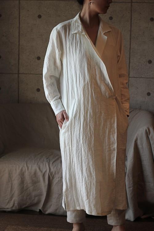 Linen shirt-coat(White)リネン シャツコート
