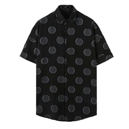 送料無料メンズ黒コインドット柄半袖シャツトップス