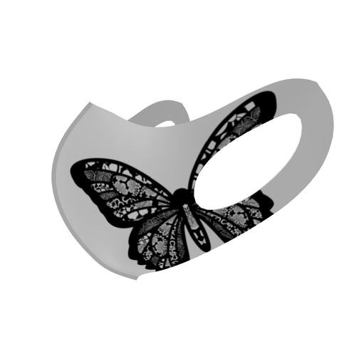 家紋透かし蝶Black&White B 和柄ファッションマスク Lサイズ