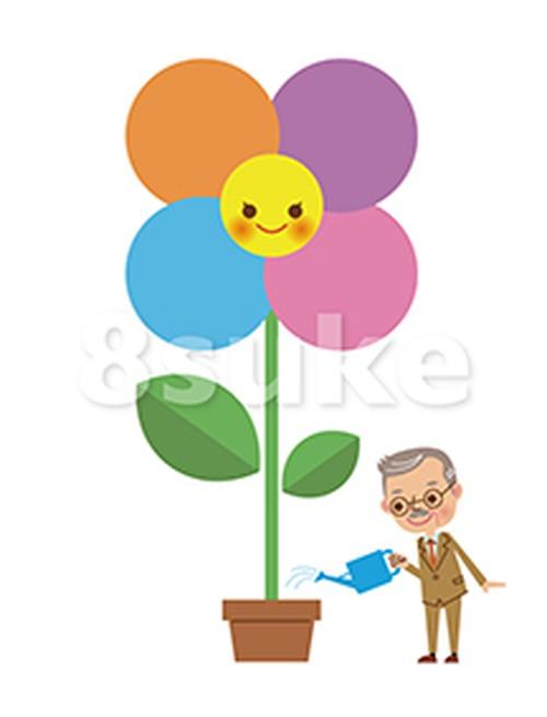 イラスト素材:花に水をやる社長・経営者(ベクター・JPG)