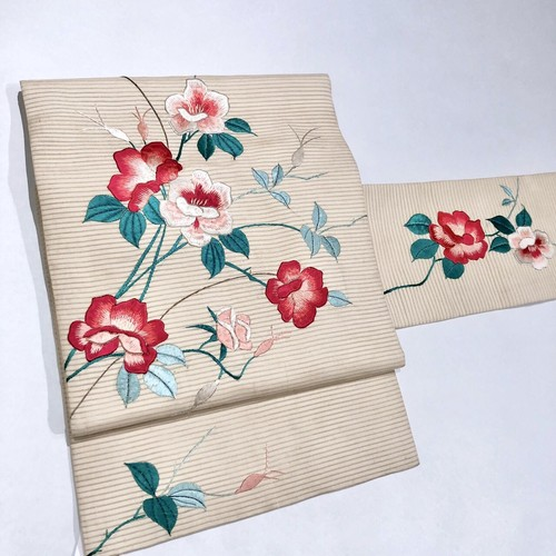 夏帯*アイボリーにミニ薔薇刺繍のアンティーク名古屋帯 0157