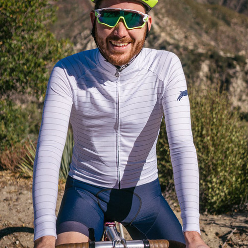 TEAM DREAM BICYCLING TEAM / Thin Stripe Long Sleeve / WINTER WHITE/GREY