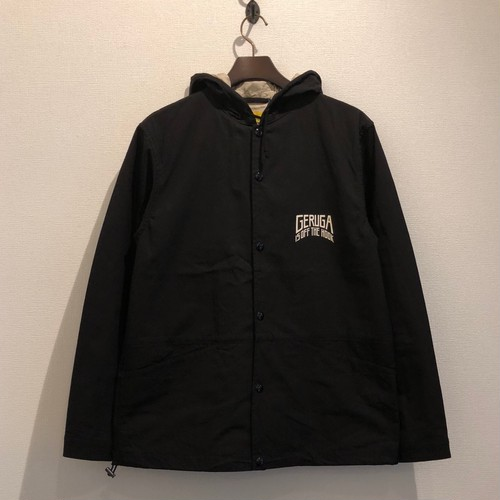HOODED COACH JACKET <LIBIDO PUNISHMENT> (BLACK) / GERUGA