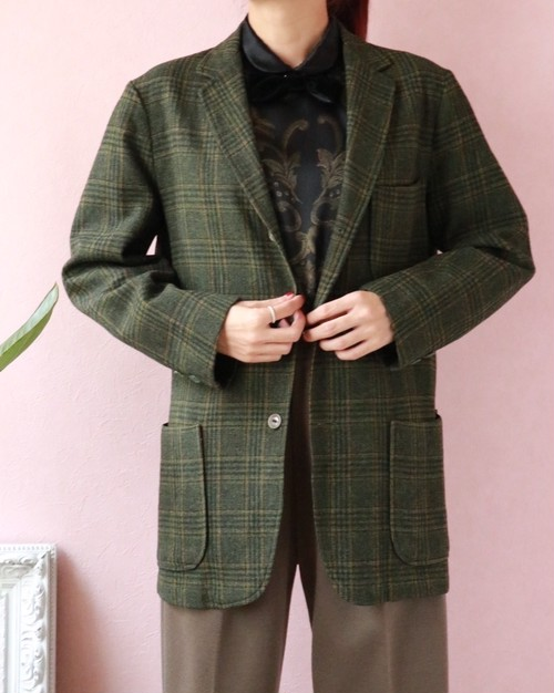 60's Pendelton green checked wool jacket