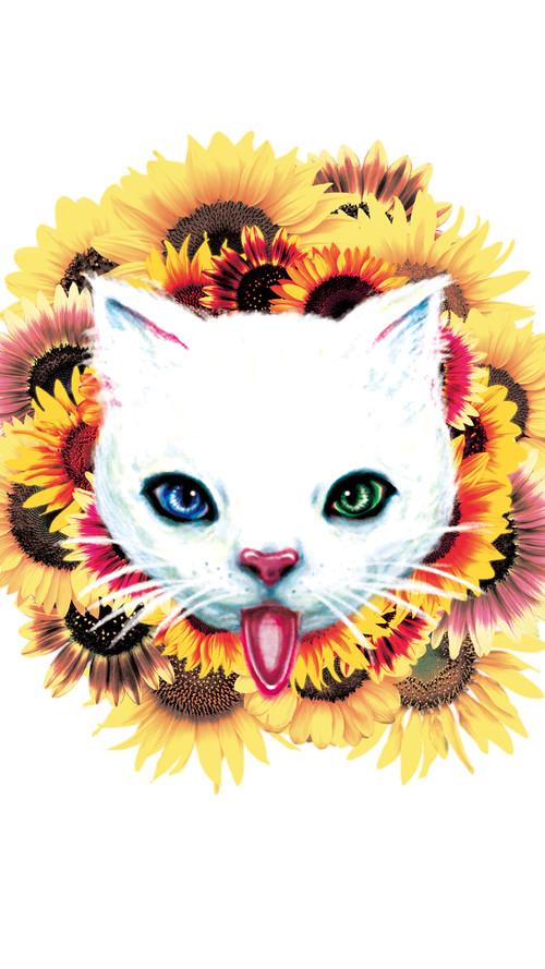 スマホ用壁紙:ヒマワリと猫