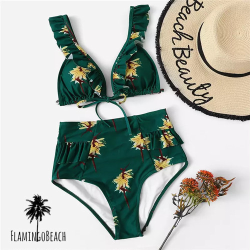 【FlamingoBeach】green high west bikini ハイウェストビキニ