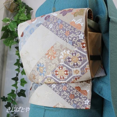 正絹 白地に切ばめ風の袋帯