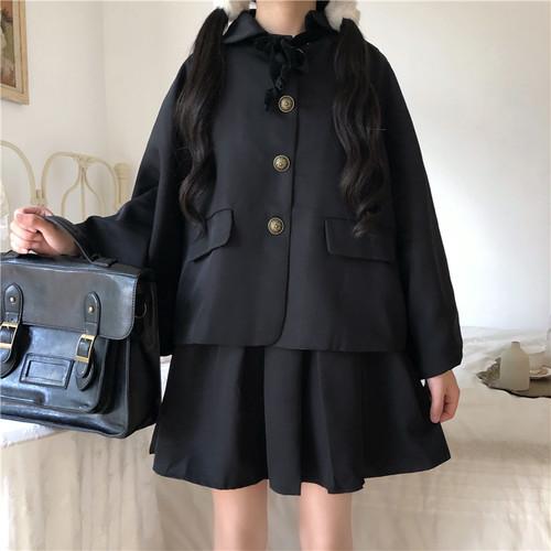 【送料無料】ガーリー な セットアップ ♡ 2点セット フェミニン ポンチョ ジャケット × ミニ丈 プリーツ ワンピース