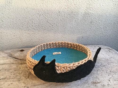 Jute 黒猫アップリケ トレー