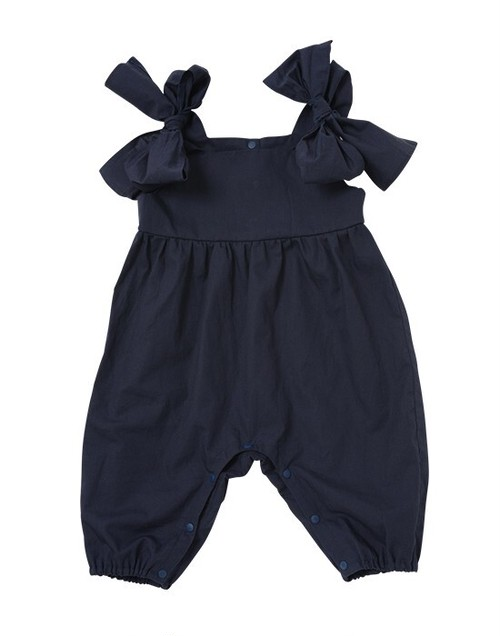 BABY︰BIJOUX&BEE【ビジューアンドビー】肩リボンオールインワン(ネイビー、70-80cm、80-90cm)ロンパース