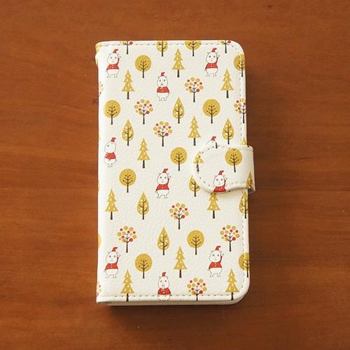 手帳型スマホケース(普通サイズのAndroid用)いしカバくんボタニカル柄