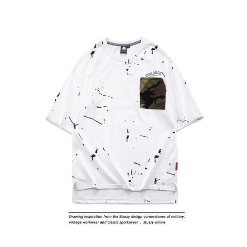 [大人気]ペイント迷彩ポケットデザインTシャツ 2カラー