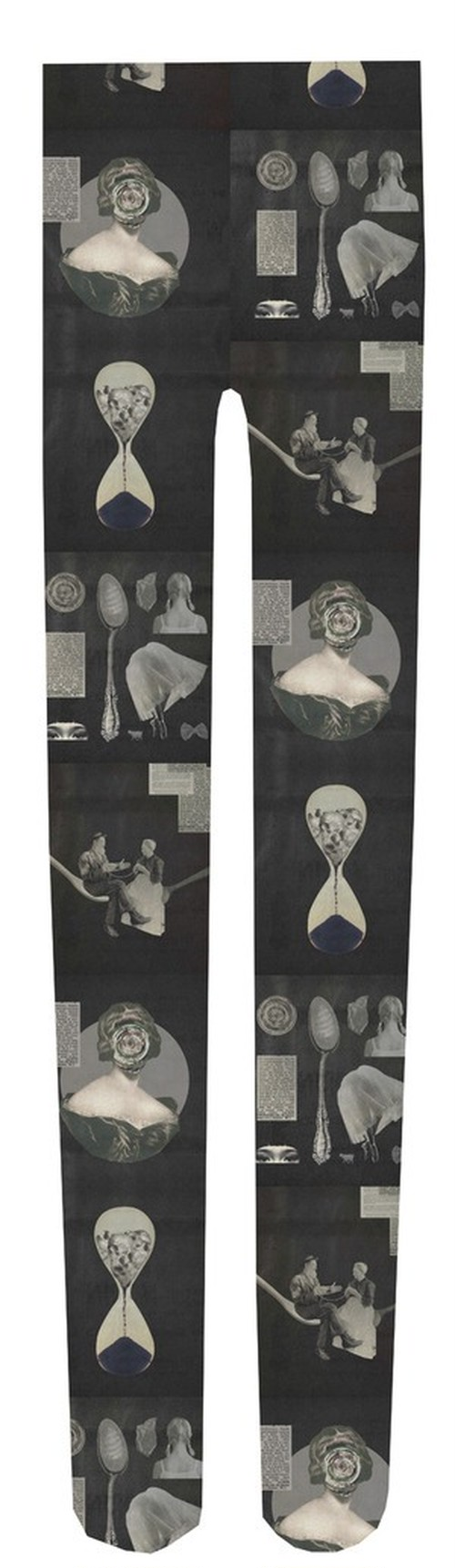 Collage print tights『montage』