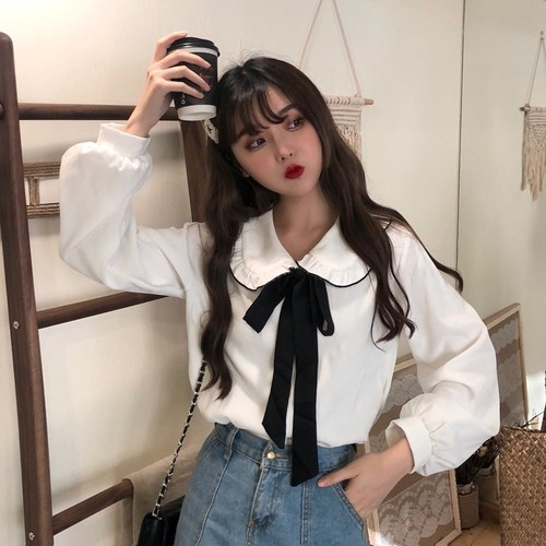 【トップス】春秋韓国風シンプルスウィートルーズレトロシャツ