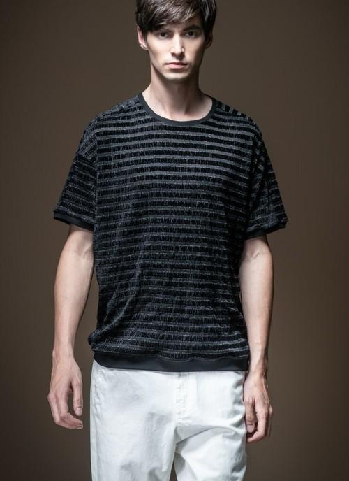 メンズベロア半袖Tシャツ。ボーダータイプブラック/ブルー2カラー